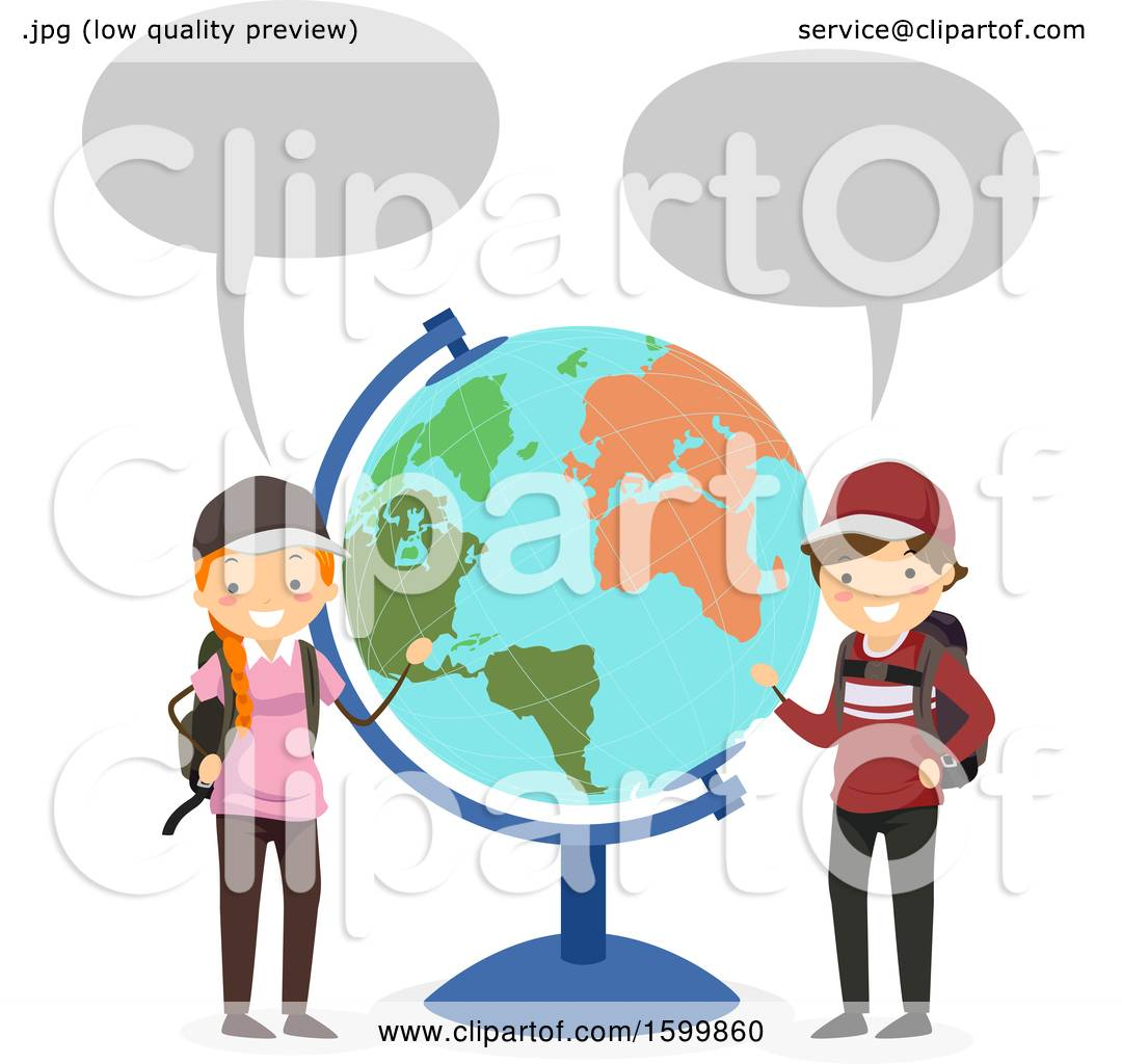 hight resolution of clipart of a traveling teen boy and girl talkinga nd presenting a desk globe royalty free vector illustration by