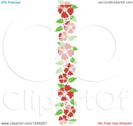 vertical border hibiscus clipart leaves flowers royalty illustration vector bnp studio notes copyright