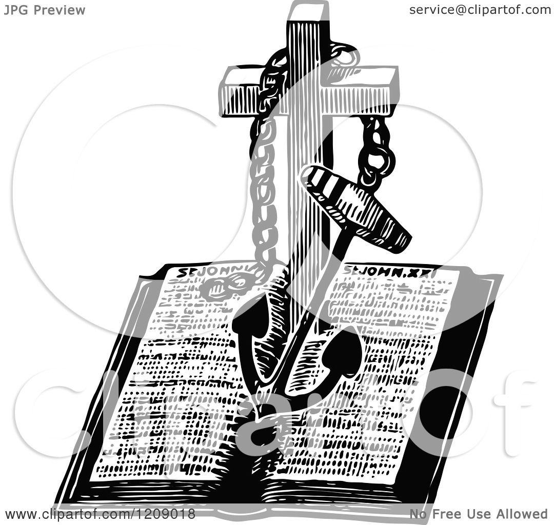 Clipart Of A Vintage Black And White Anchor And Cross Over