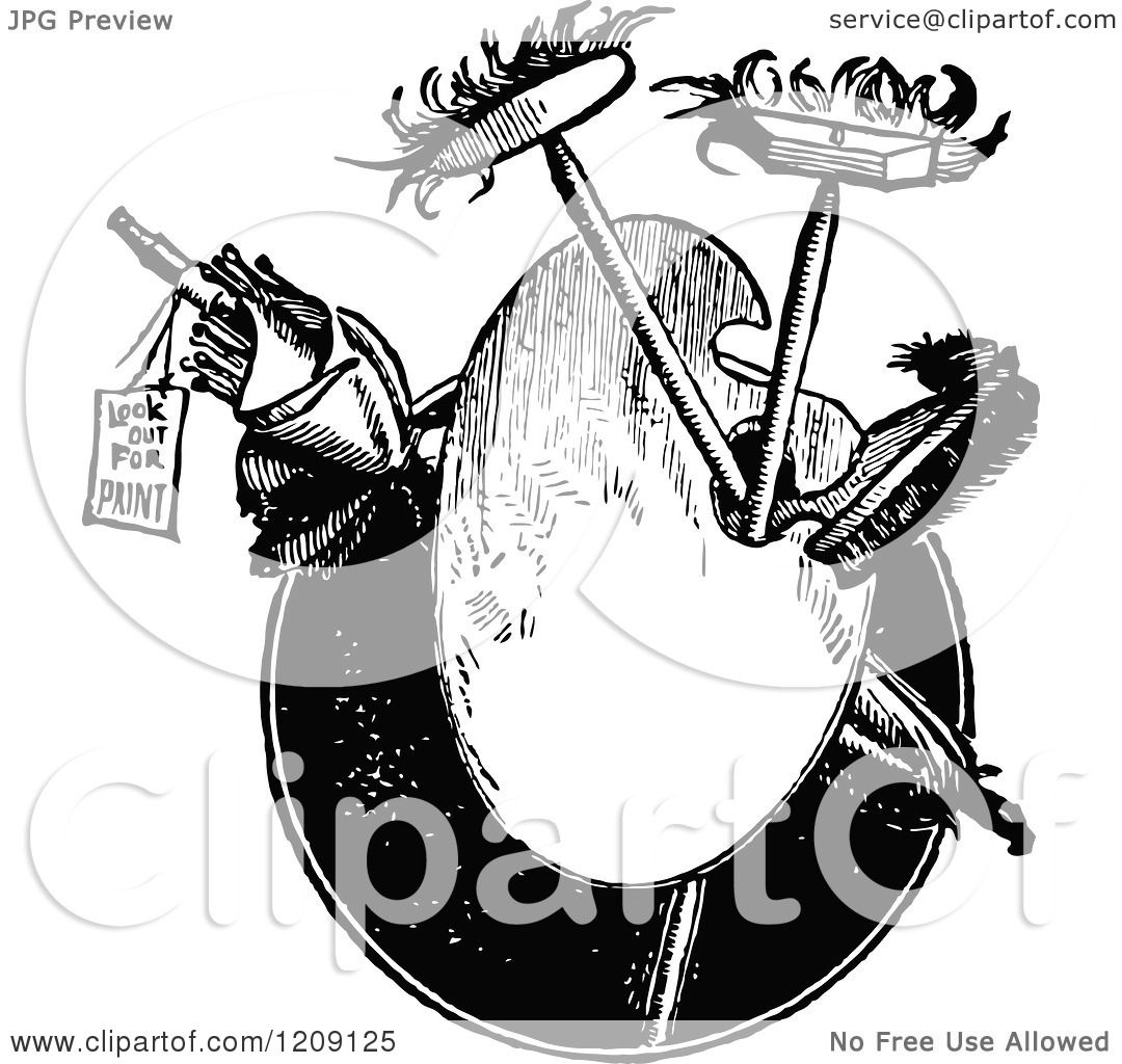 Clipart Of A Vintage Black And White Artist Palette And
