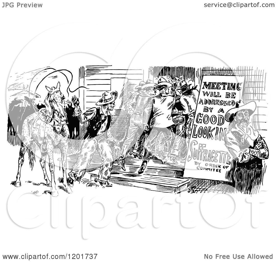 Clipart Of A Vintage Black And White Cowboy Meeting