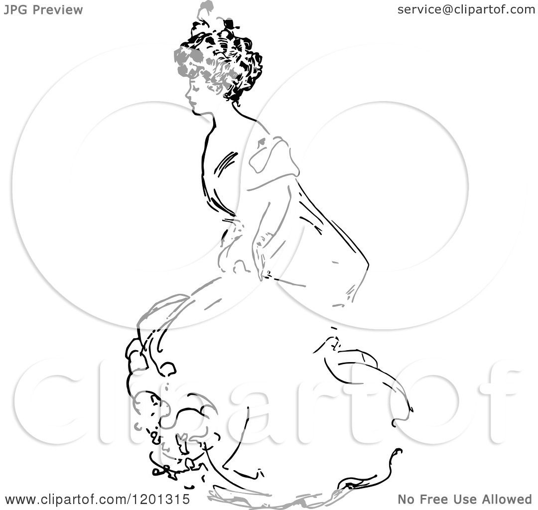 Clipart Of A Vintage Black And White Elegant Lady 4