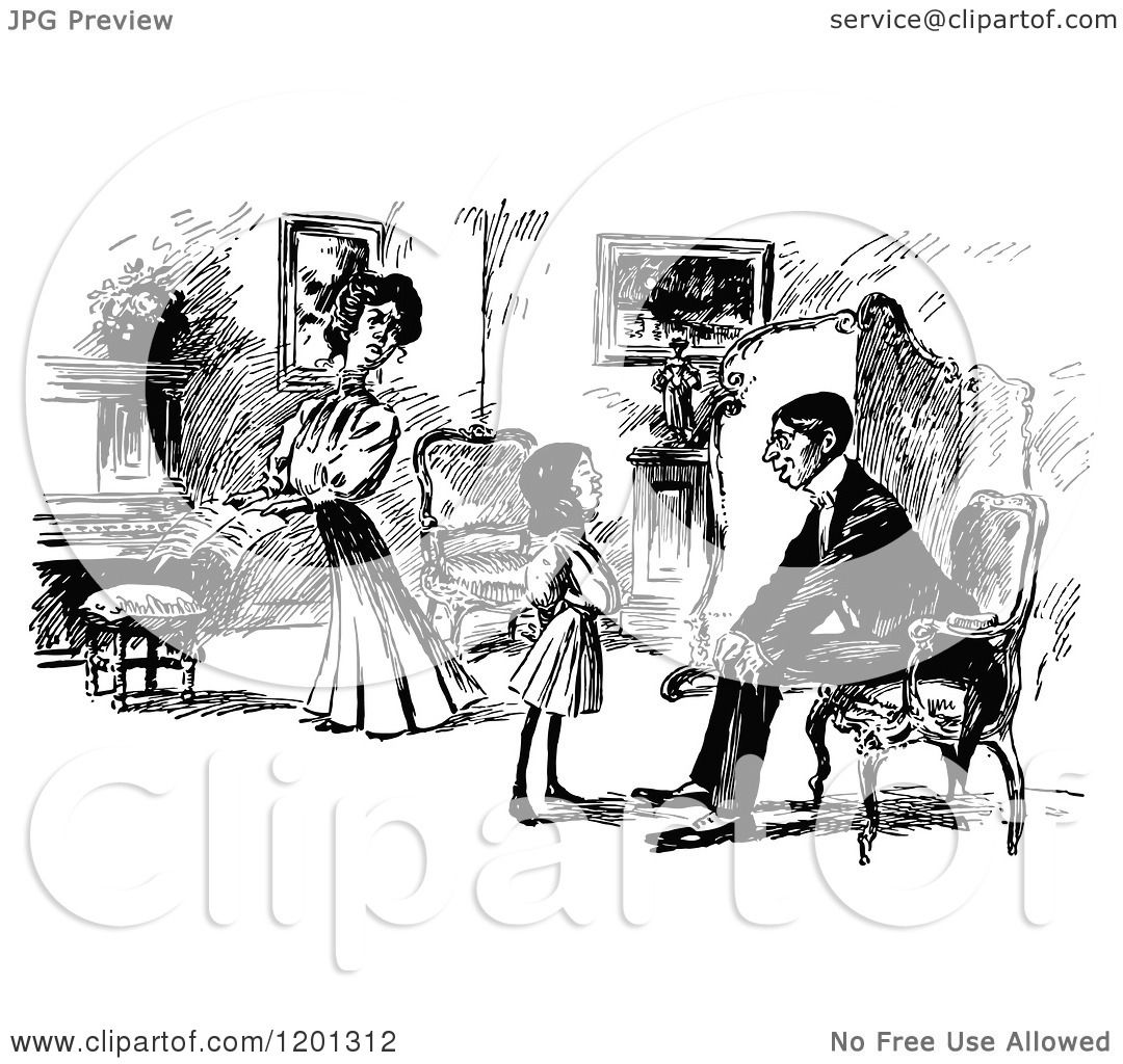 Clipart Of A Vintage Black And White Family In A Living Room