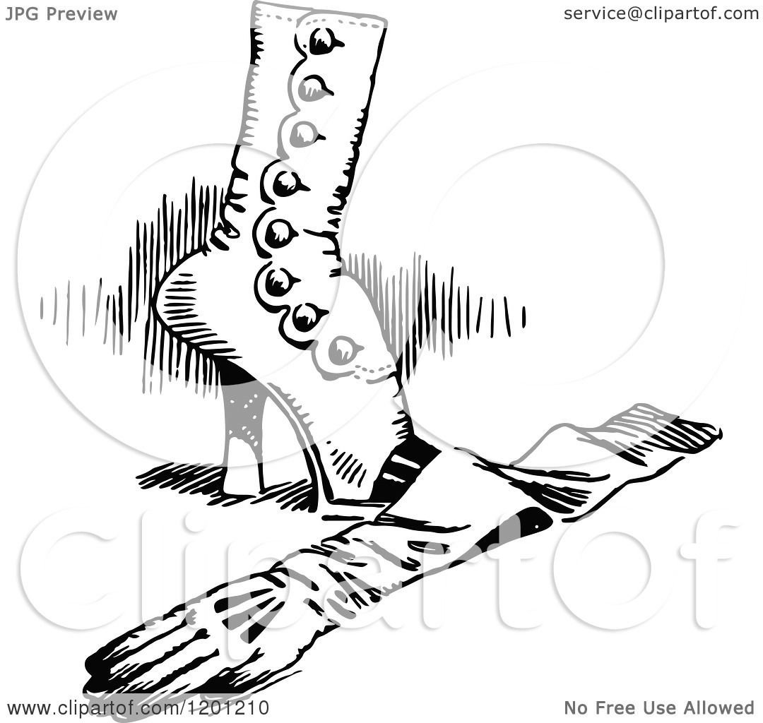 Clipart Of A Vintage Black And White Feminine Boot And