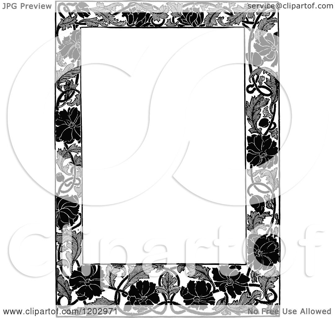 Clipart Of A Vintage Black And White Floral Poppy Page
