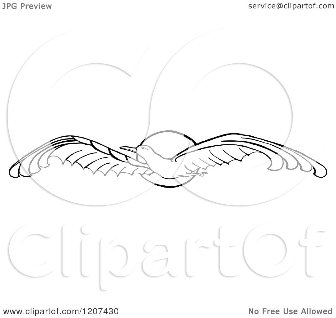 Clipart Of A Vintage Black And White Flying Seagull And