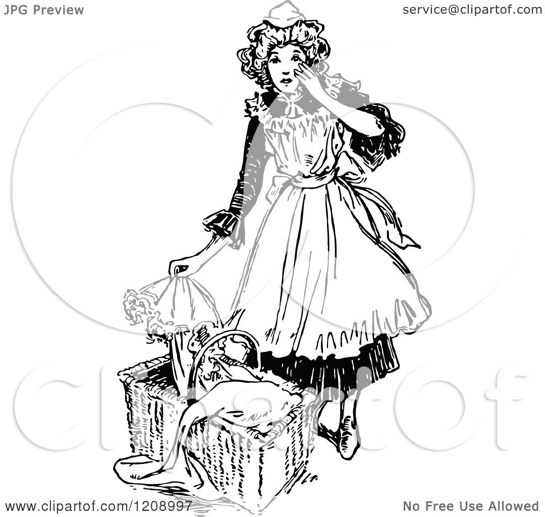 Clipart Of A Vintage Black And White French Maid And Baby