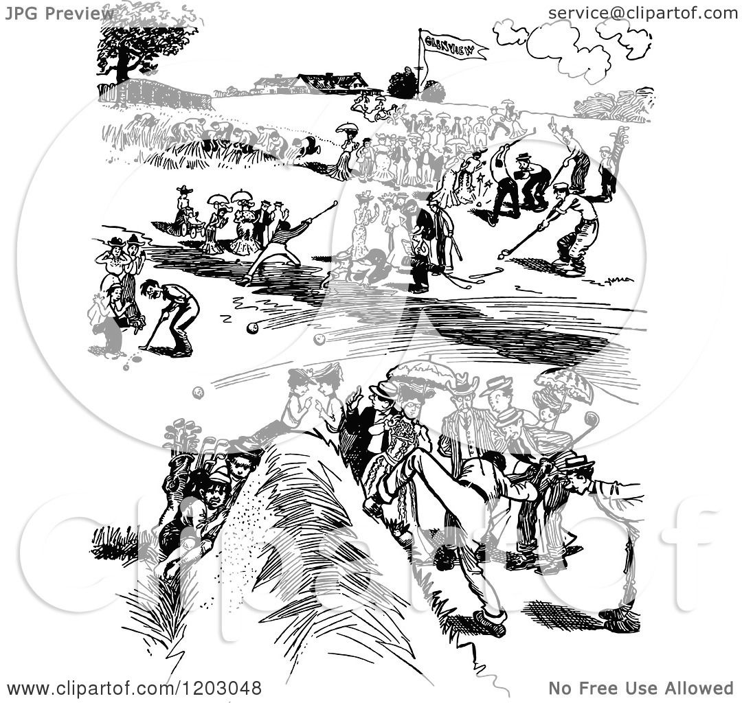 Clipart Of A Vintage Black And White Golf Tournament