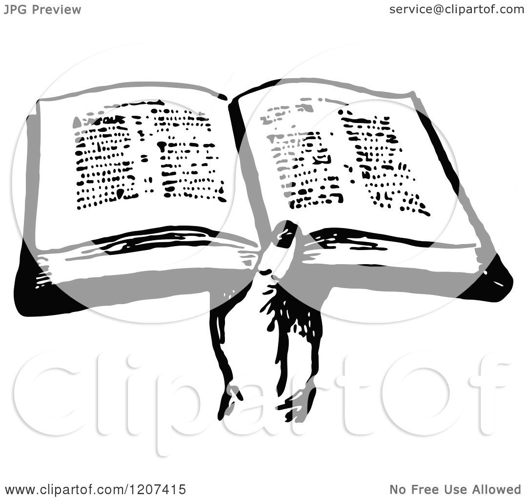 Clipart Of A Vintage Black And White Hand Holding A Bible