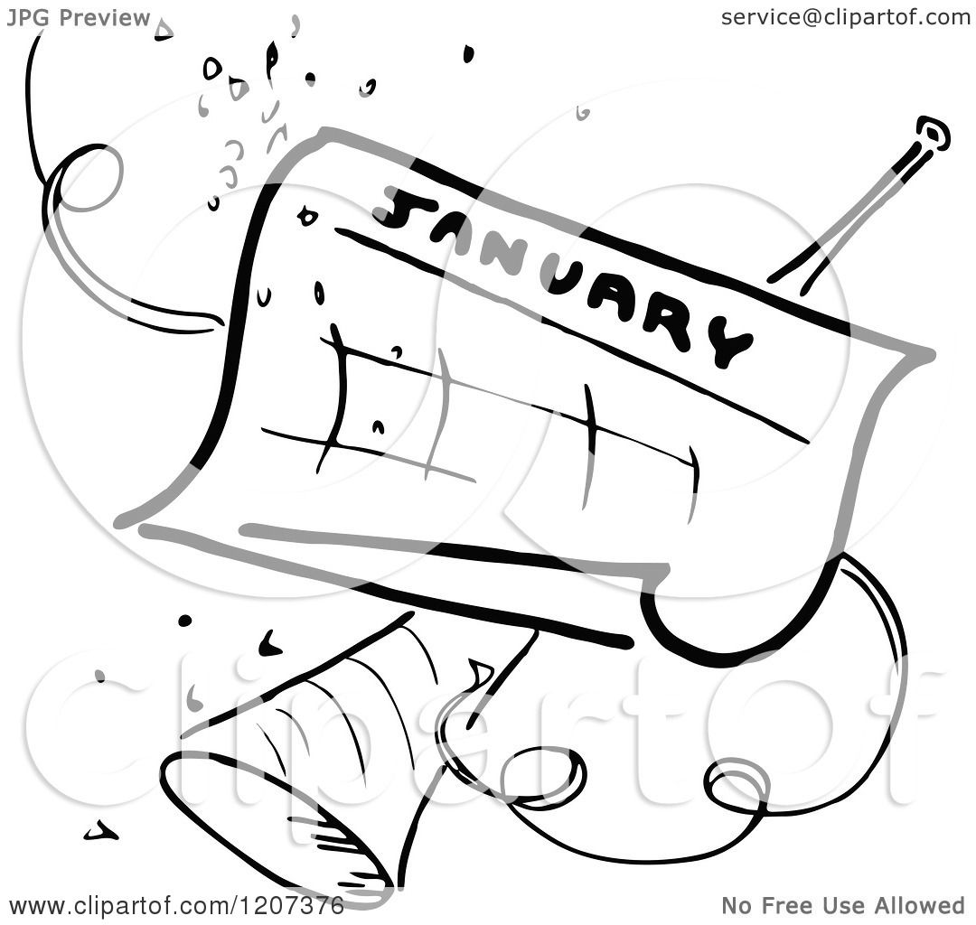 Clipart Of A Vintage Black And White January Calendar With