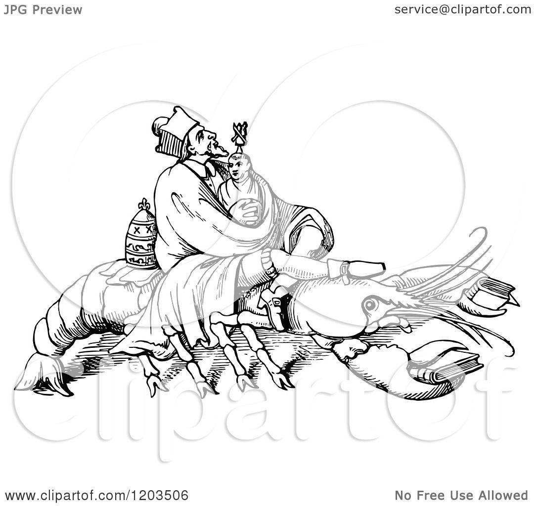 Clipart Of A Vintage Black And White Lobster And Men