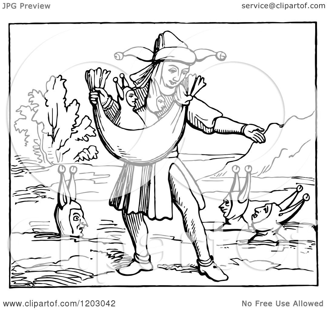 Clipart of a Vintage Black and White Man Sowing a Fruitful