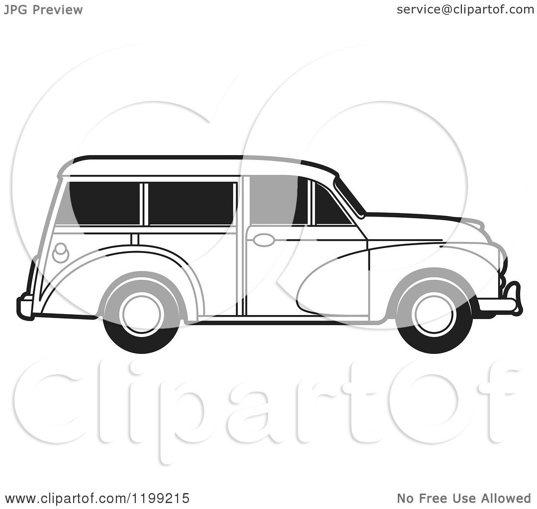 Clipart of a Vintage Black and White Morris Minor Car with