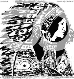 clipart of a vintage black and white native american indian chief royalty free vector illustration [ 1080 x 1024 Pixel ]