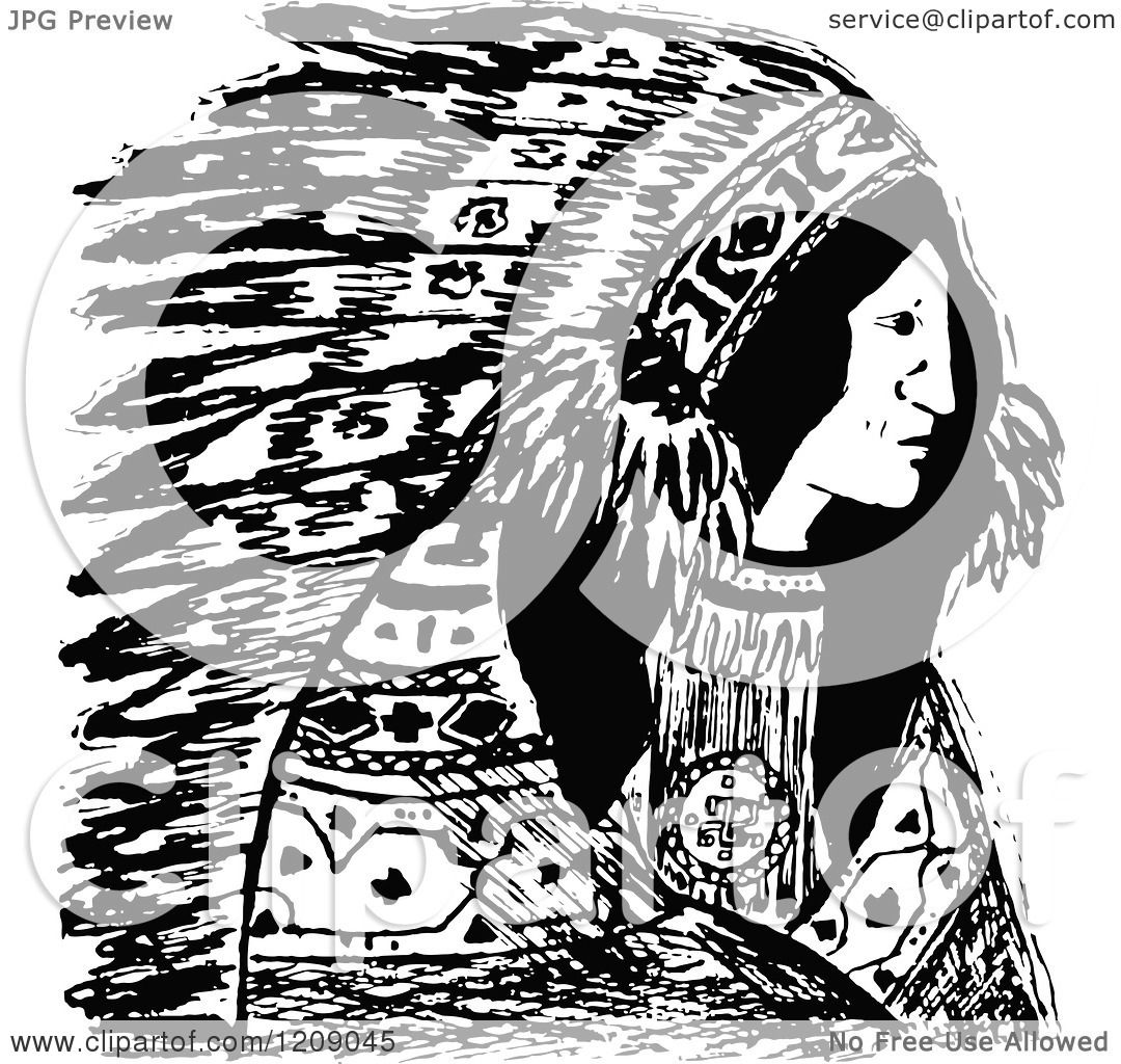 hight resolution of clipart of a vintage black and white native american indian chief royalty free vector illustration