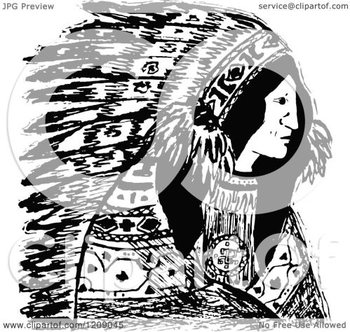 small resolution of clipart of a vintage black and white native american indian chief royalty free vector illustration