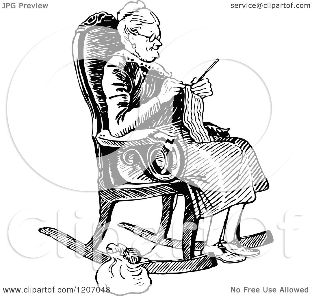 Clipart Of A Vintage Black And White Old Lady Knitting