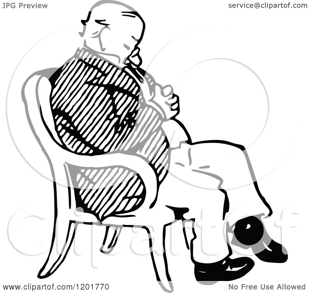 Clipart Of A Vintage Black And White Old Man Sleeping In A Chair