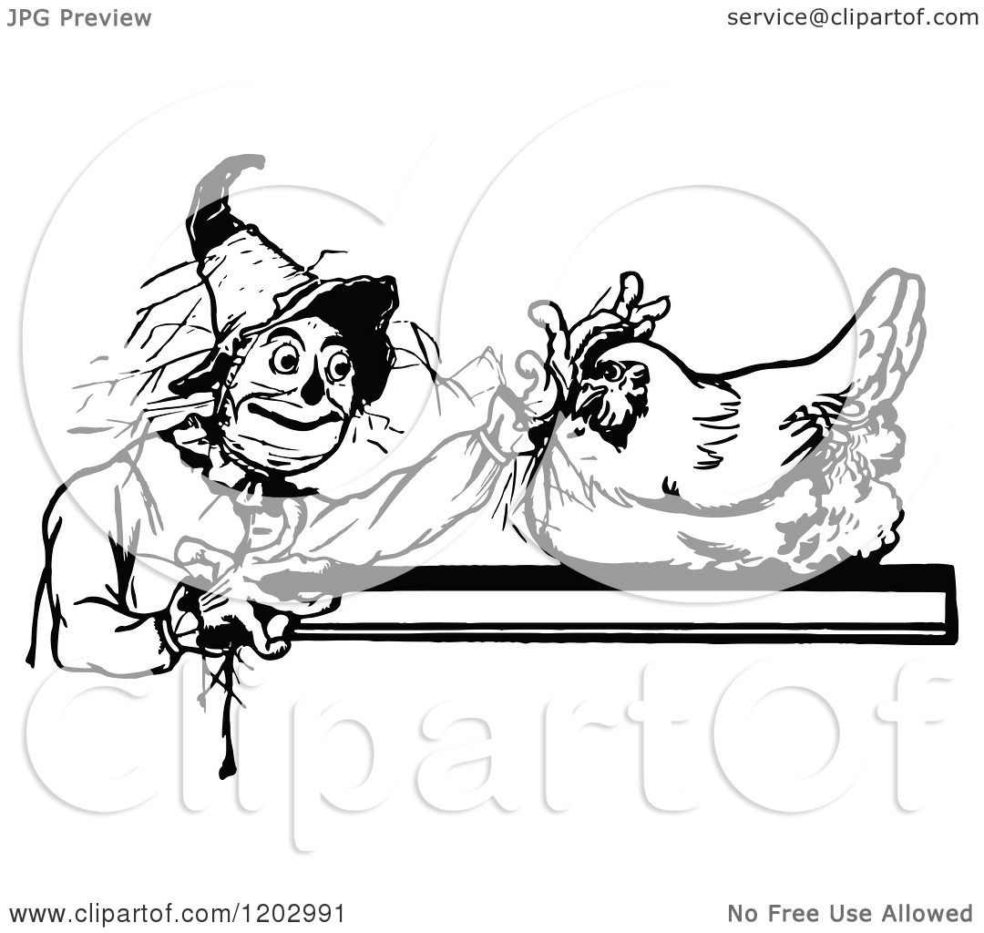 Clipart Of A Vintage Black And White Oz Hen And Scarecrow
