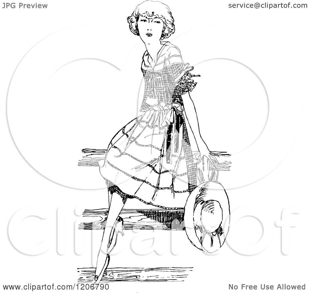 Clipart Of A Vintage Black And White Pretty Girl Sitting On A Fence