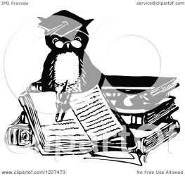 owl writing professor illustration clipart royalty vector prawny regarding notes