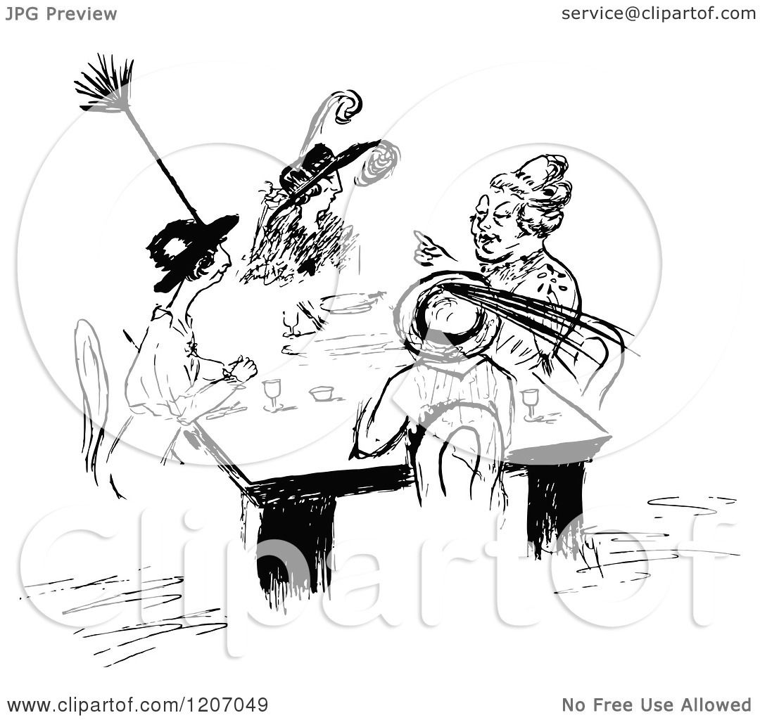 Clipart Of A Vintage Black And White Sketch Of La S Meeting