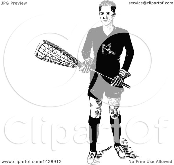 Lacrosse Player Clip Art Black and White