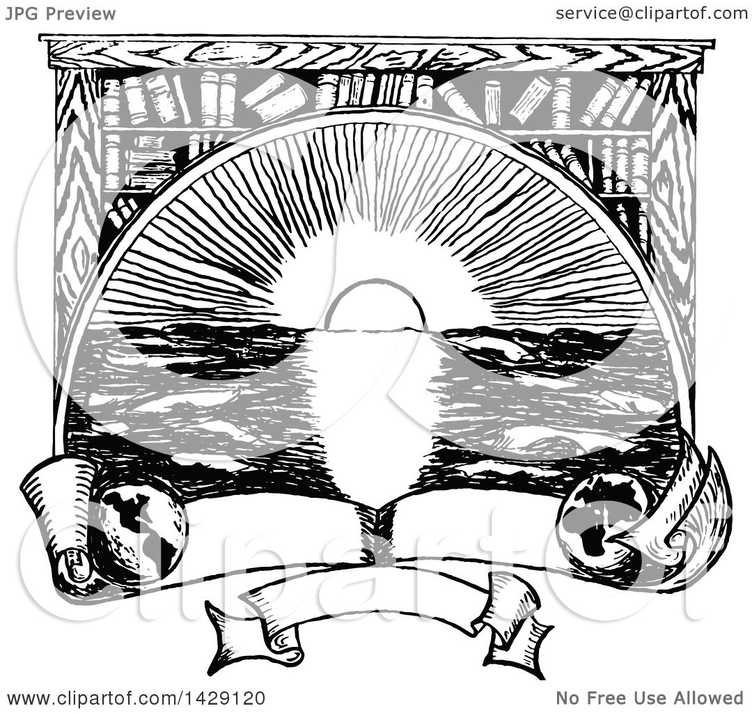 Clipart Of A Vintage Black And White Sketched Ocean Sunset