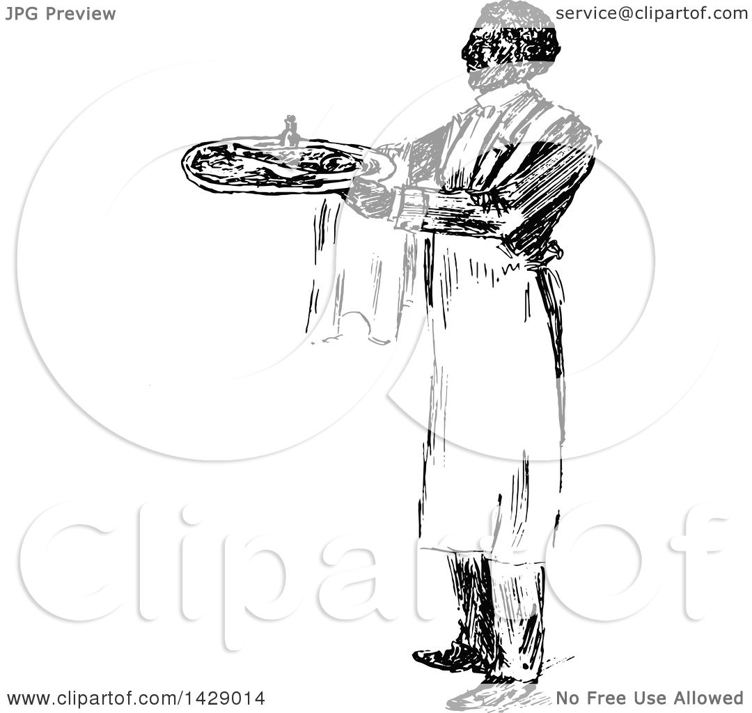 Clipart Of A Vintage Black And White Sketched Waiter