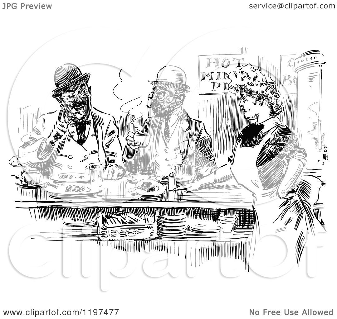 Clipart Of A Vintage Black And White Waitress And Men In A