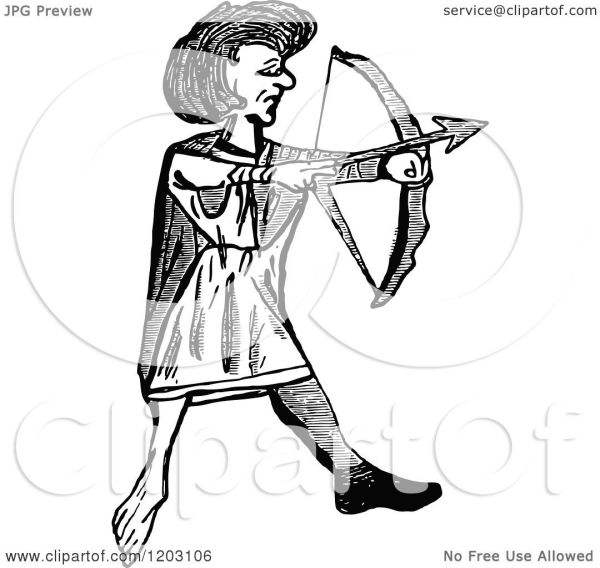 Clipart of a Vintage Black and White Welsh Archer