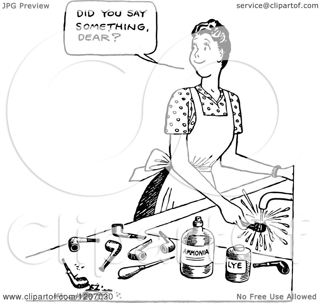 Clipart of a Vintage Black and White Woman Using Pipe