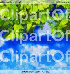 clipart of a watercolor painted leaves and sky background royalty free vector illustration by kj pargeter [ 1080 x 1024 Pixel ]