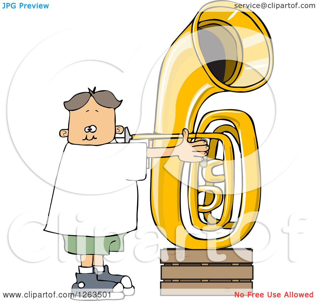 hight resolution of clipart of a white boy playing a tuba royalty free vector illustration by djart