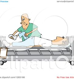 clipart of a white male nurse helping a guy patient stretch for physical therapy recovery in a hospital bed royalty free vector illustration by djart [ 1080 x 1024 Pixel ]