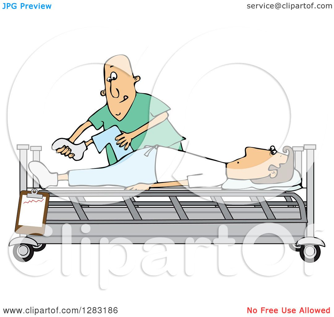hight resolution of clipart of a white male nurse helping a guy patient stretch for physical therapy recovery in a hospital bed royalty free vector illustration by djart