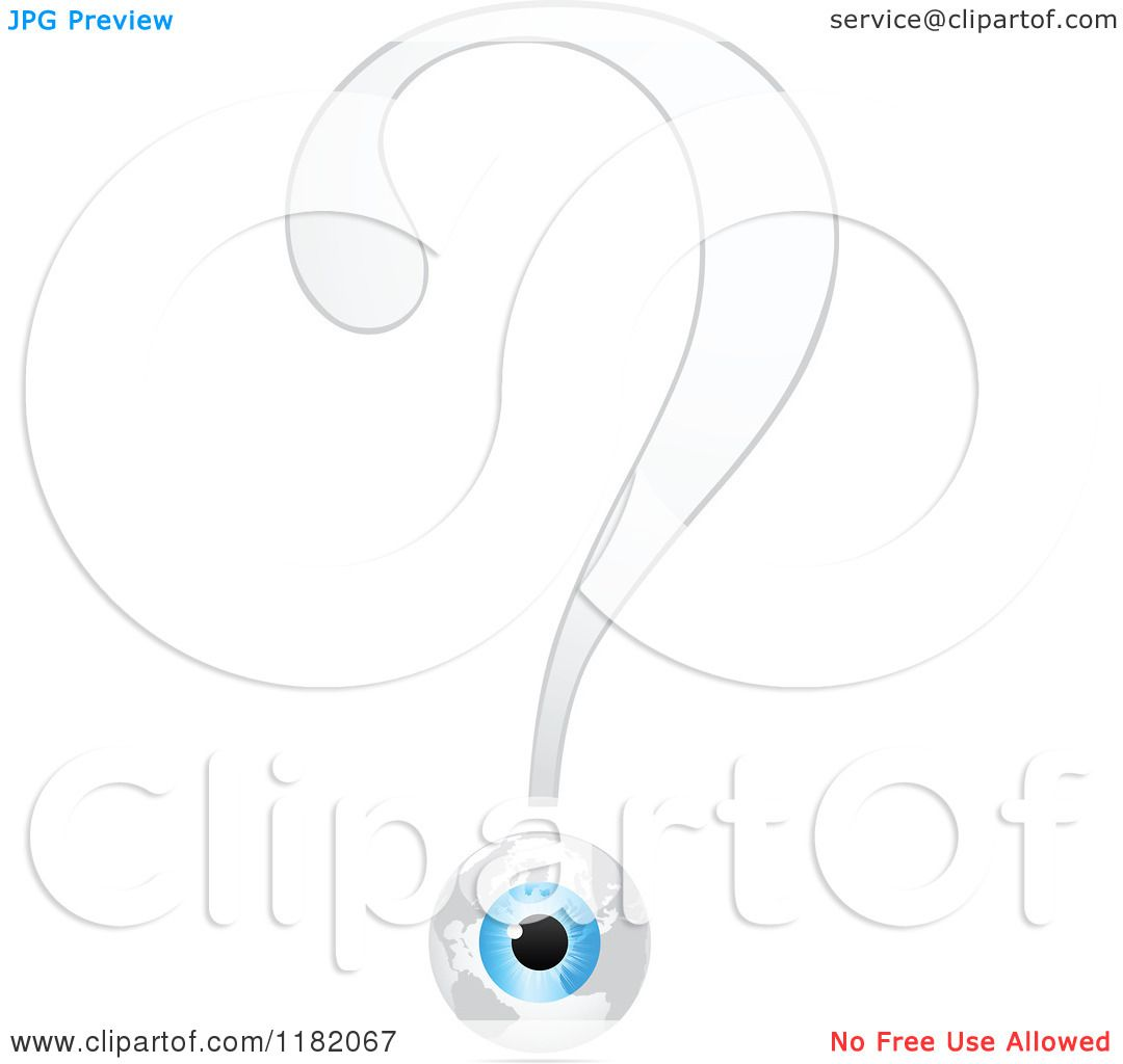 Clipart Of A White Question Mark And Eyeball Globe