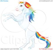 clipart of white rearing horse