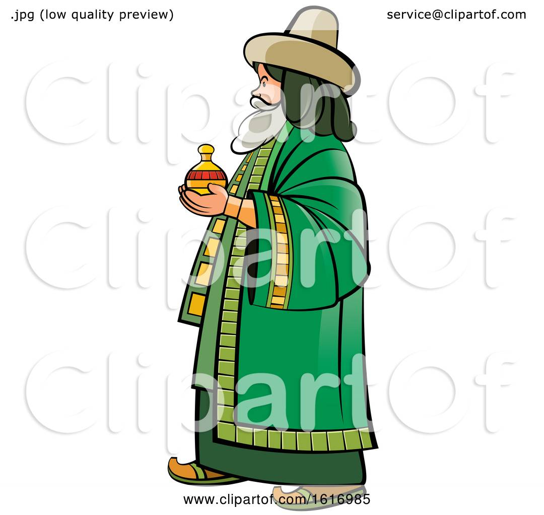 hight resolution of clipart of a wise man holding a gift royalty free vector illustration by lal perera