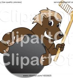 clipart of a wolverine school mascot character holding a hockey puck and stick royalty free vector illustration by toons4biz [ 1080 x 1024 Pixel ]