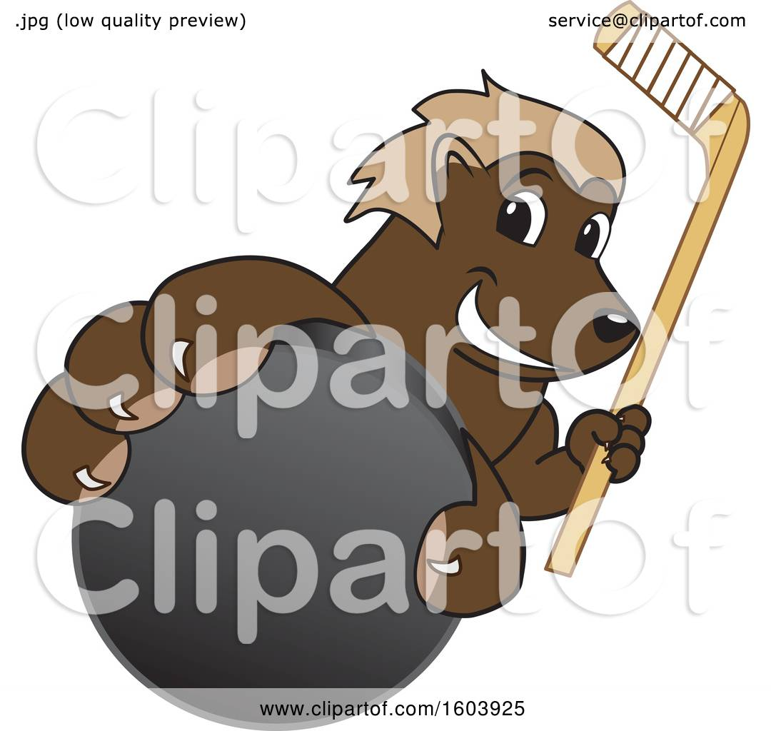 hight resolution of clipart of a wolverine school mascot character holding a hockey puck and stick royalty free vector illustration by toons4biz