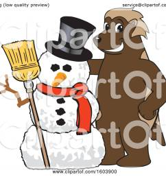clipart of a wolverine school mascot character with a christmas snowman royalty free vector illustration [ 1080 x 1024 Pixel ]