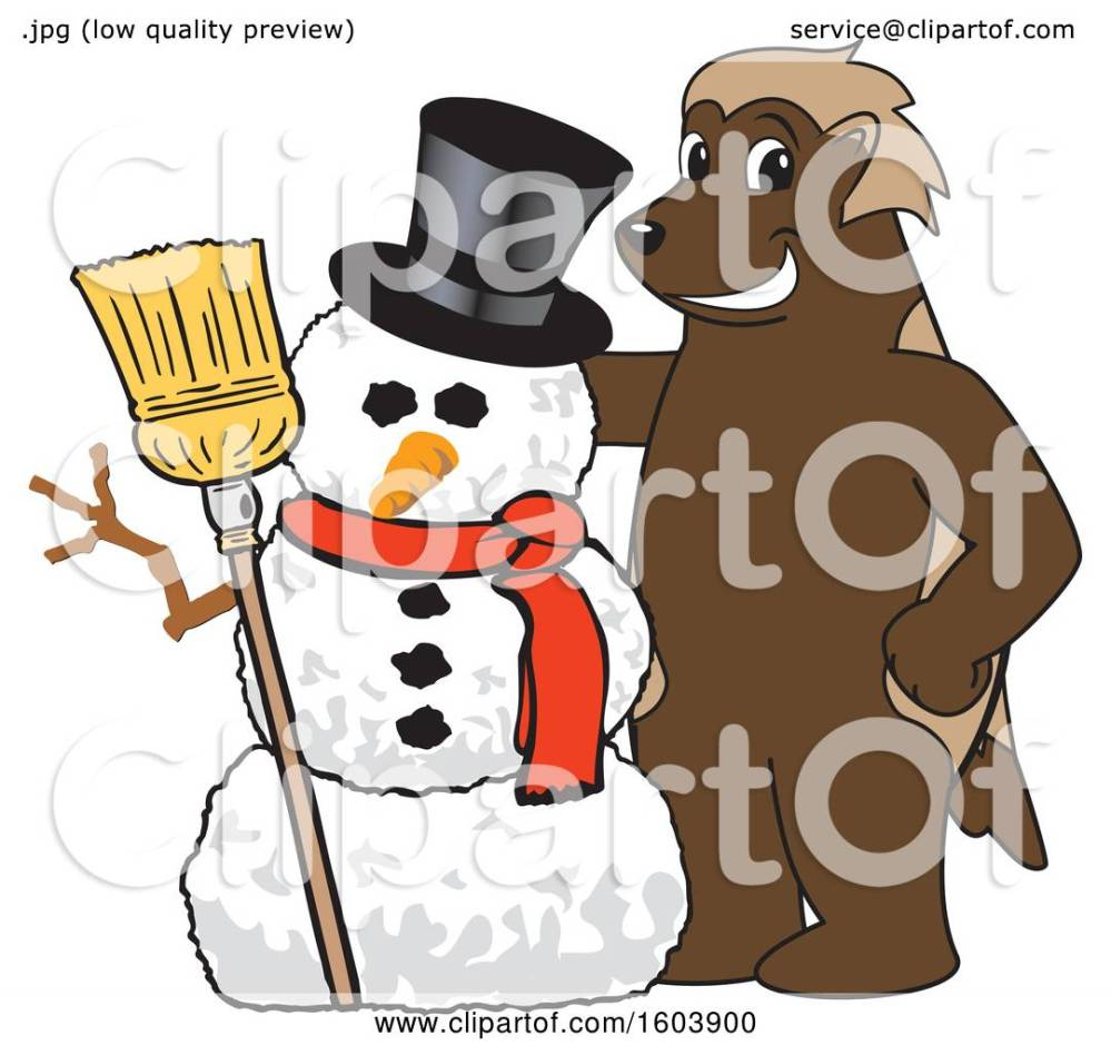 medium resolution of clipart of a wolverine school mascot character with a christmas snowman royalty free vector illustration