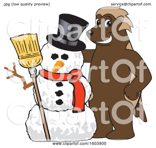 small resolution of clipart of a wolverine school mascot character with a christmas snowman royalty free vector illustration