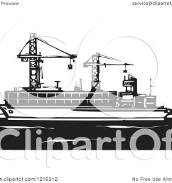 clipart of a woodcut container ship with rigs in black and white royalty free [ 1080 x 1024 Pixel ]