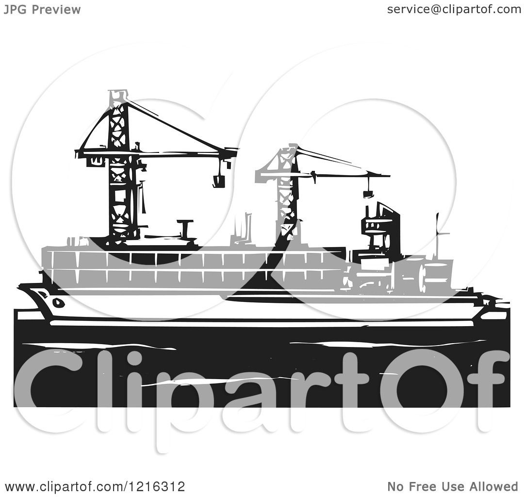 hight resolution of clipart of a woodcut container ship with rigs in black and white royalty free