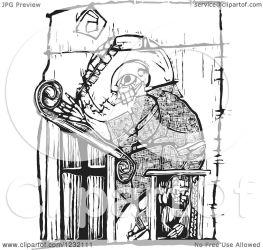 scribe writing monk clipart royalty illustration woodcut vector xunantunich notes copyright regarding