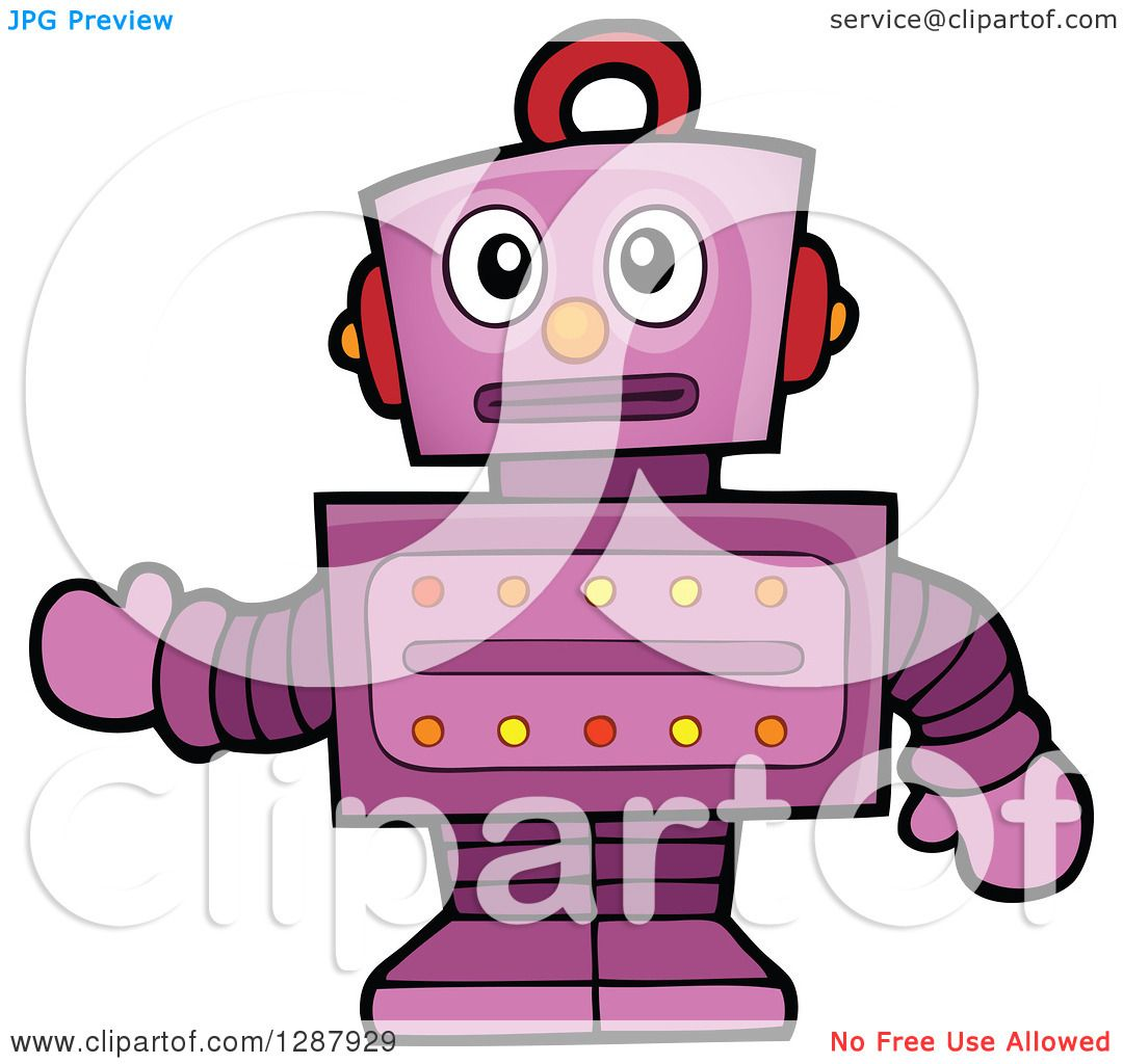 hight resolution of clipart of a worried purple robot gesturing royalty free vector illustration by visekart