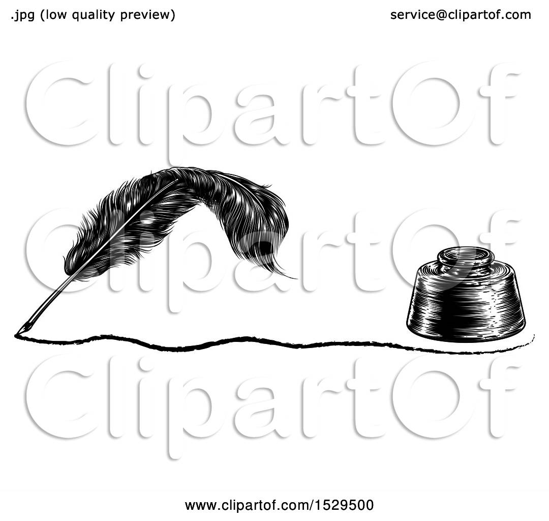 Clipart Of A Writing Feather Quill Pen With A Line And Ink
