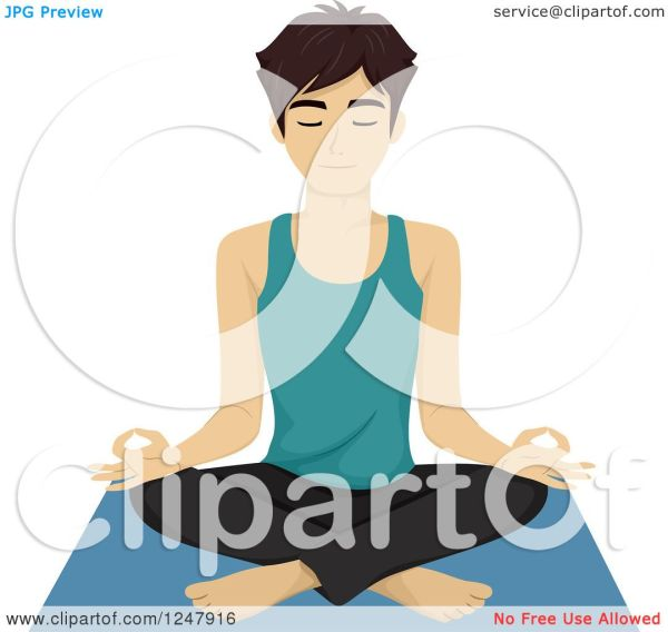 Clipart Of Young Man Yoga In Lotus Pose